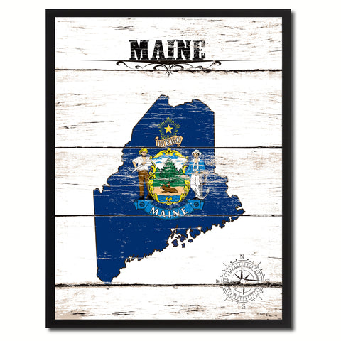 Maine State Flag Gifts Home Decor Wall Art Canvas Print Picture Frames