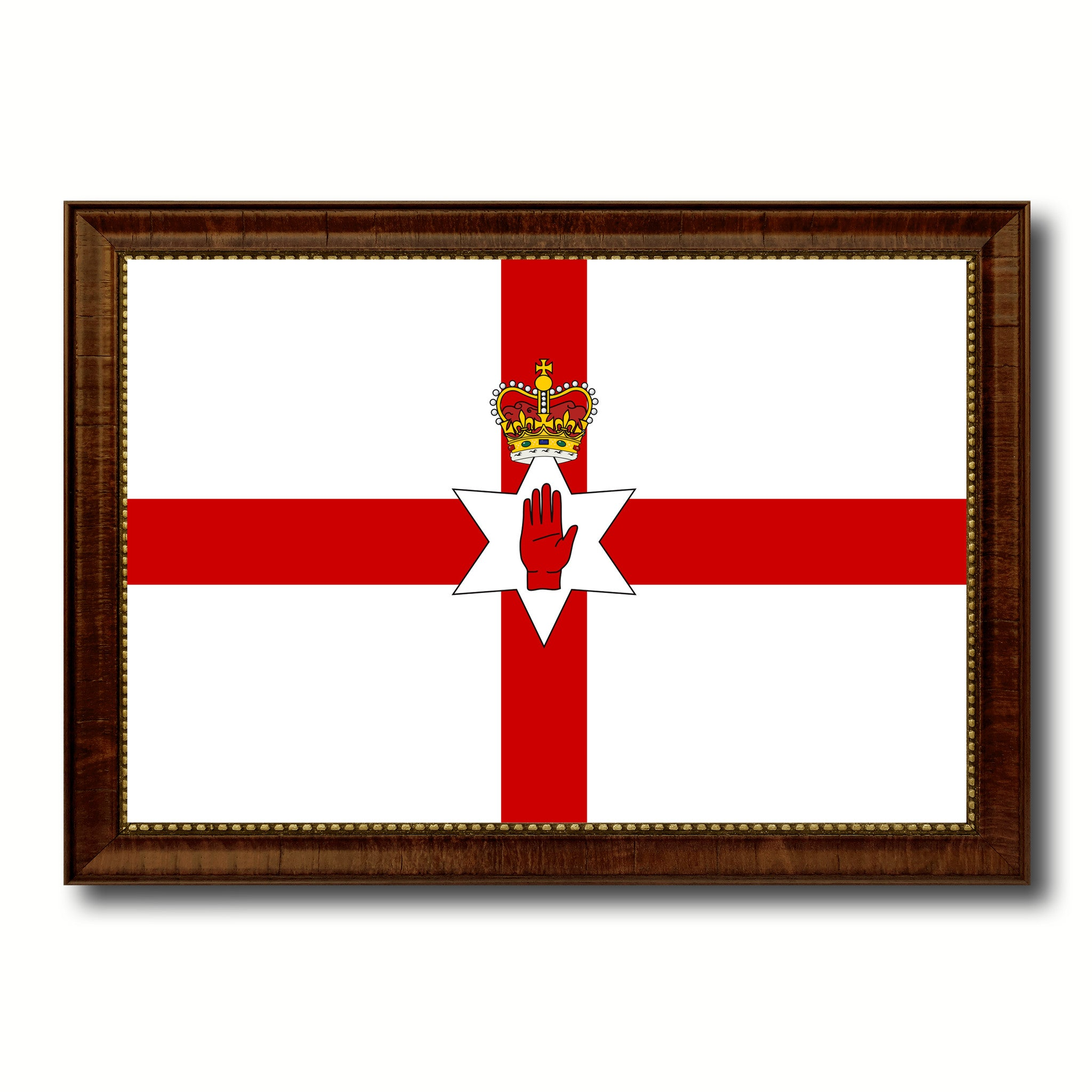 North Irish Ulster City Northern Ireland Country Flag Canvas Print Brown Picture Frame
