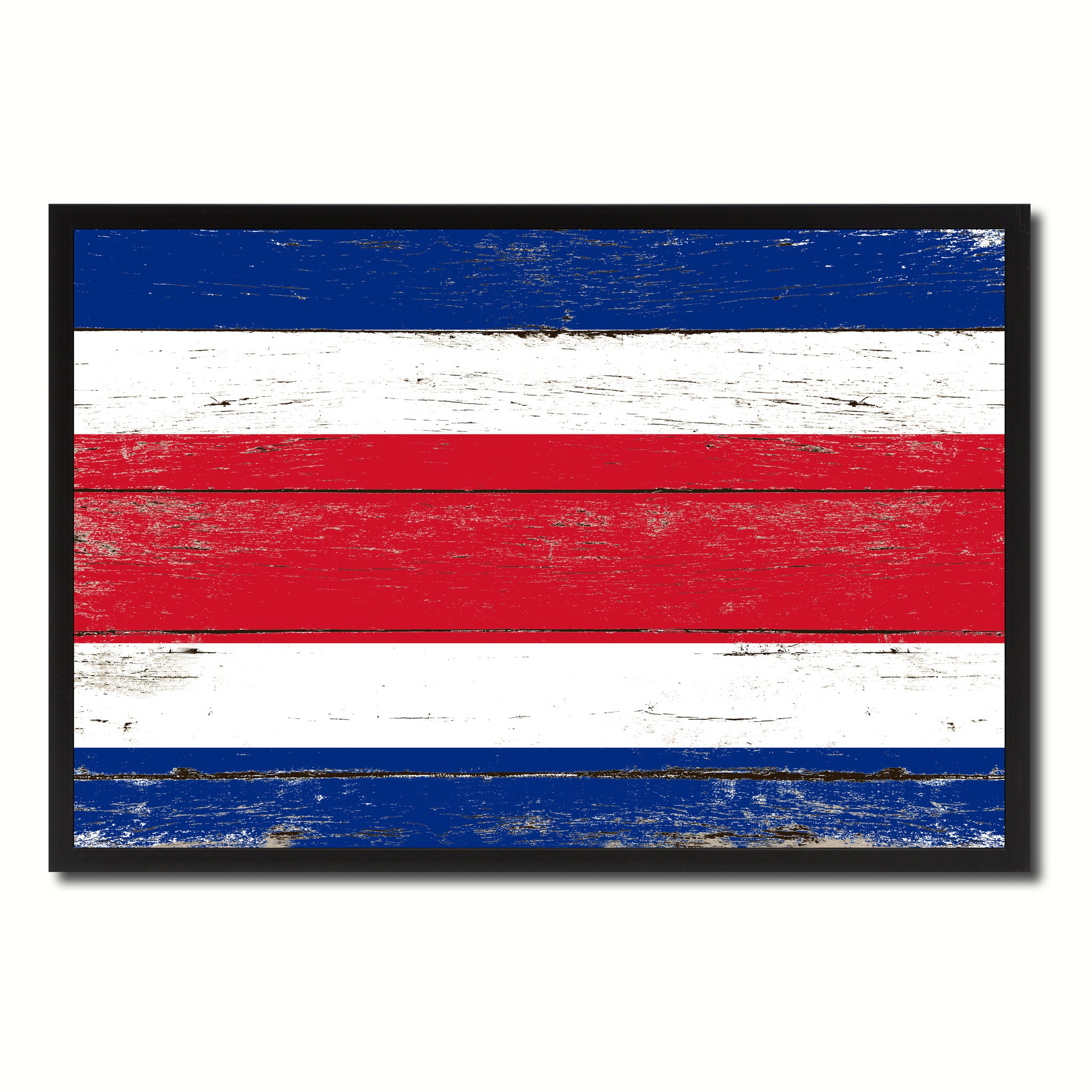Costa Rica Country National Flag Vintage Canvas Print with Picture Frame Home Decor Wall Art Collection Gift Ideas