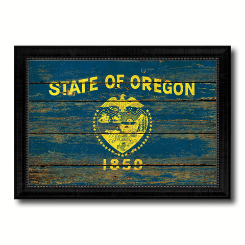 Oregon State Vintage Flag Canvas Print with Black Picture Frame Home Decor Man Cave Wall Art Collectible Decoration Artwork Gifts