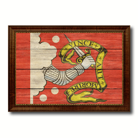 Bedford Military Flag Texture Canvas Print with Brown Picture Frame Home Decor Wall Art Gifts