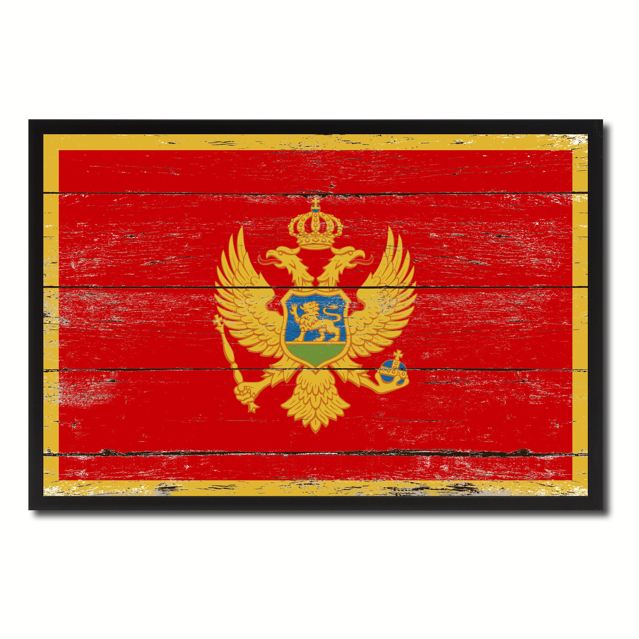 Montenegro Country National Flag Vintage Canvas Print with Picture Frame Home Decor Wall Art Collection Gift Ideas