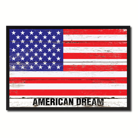 American Dream USA Flag Vintage Canvas Print with Picture Frame Home Decor Man Cave Wall Art Collectible Decoration Artwork Gifts