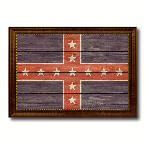Army of Tennessee Military Flag Texture Canvas Print with Brown Picture Frame Home Decor Wall Art Gifts