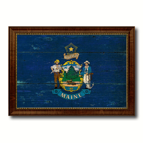 Maine State Vintage Flag Canvas Print with Brown Picture Frame Home Decor Man Cave Wall Art Collectible Decoration Artwork Gifts