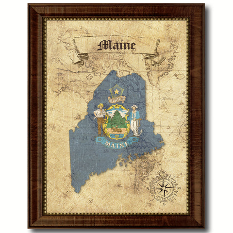 Maine State Vintage Map Home Decor Wall Art Office Decoration Gift Ideas