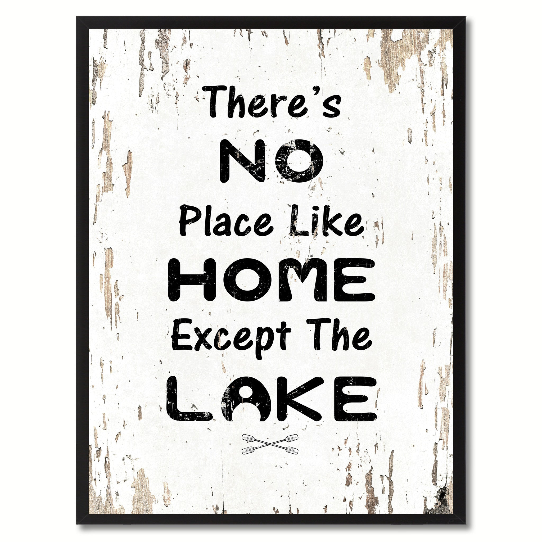 There's No Place Like Home Except The Lake Saying Canvas Print, Black Picture Frame Home Decor Wall Art Gifts