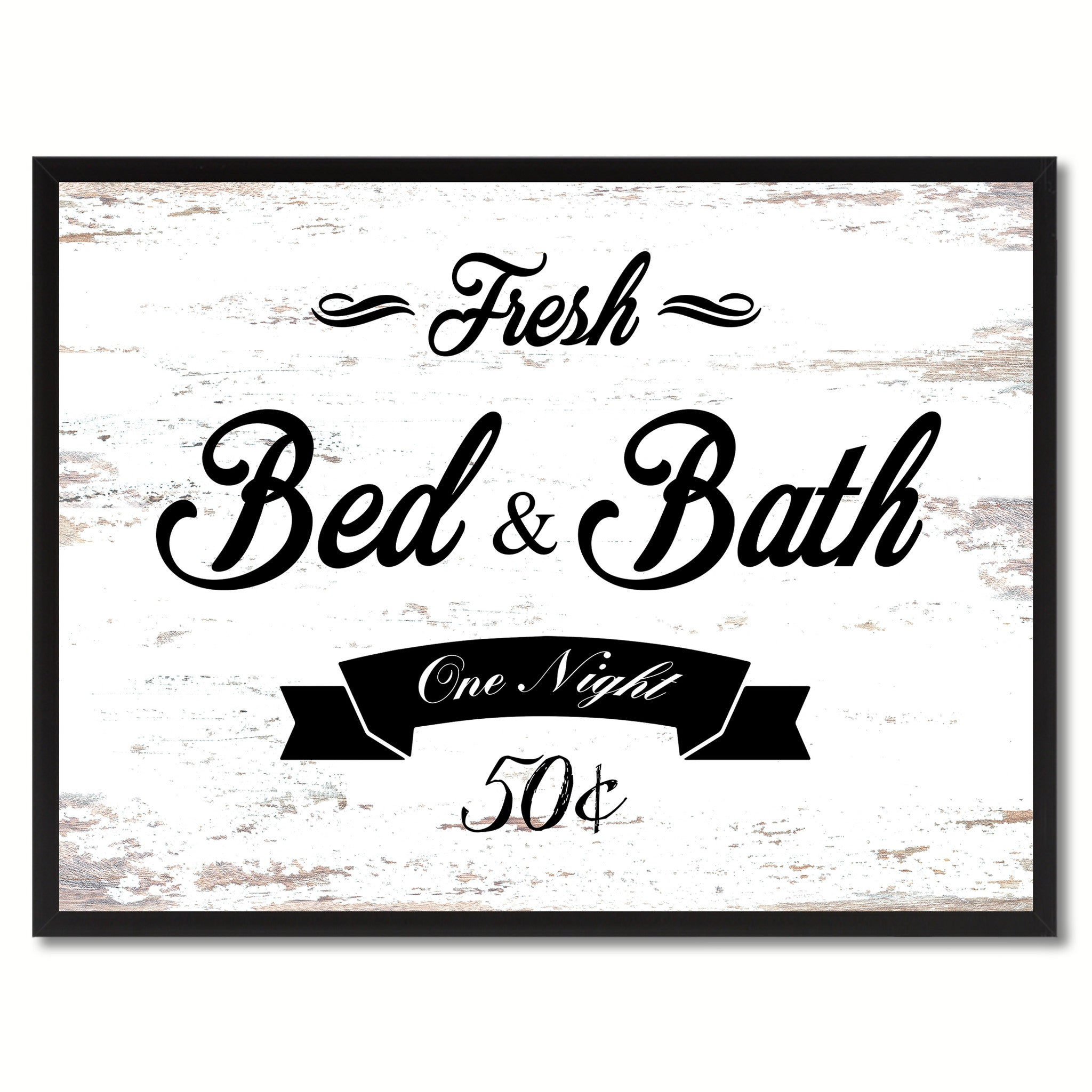 Fresh Bed & Bath Vintage Sign White Canvas Print Home Decor Wall Art Gifts Picture Frames