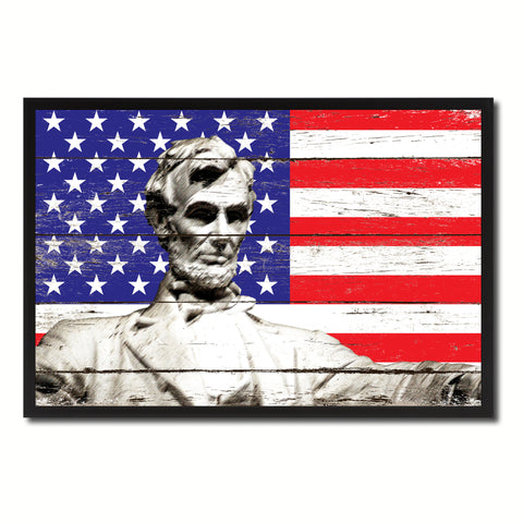 Abraham Lincoln Memorial USA Flag Vintage Canvas Print with Picture Frame Home Decor Man Cave Wall Art Collectible Decoration Artwork Gifts
