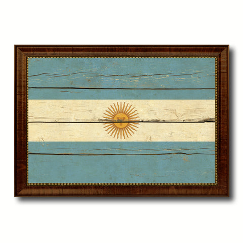 Argentina Country Flag Vintage Canvas Print with Brown Picture Frame Home Decor Gifts Wall Art Decoration Artwork