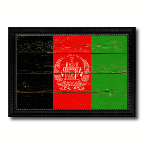 Afghanistan Country Flag Vintage Canvas Print with Black Picture Frame Home Decor Gifts Wall Art Decoration Artwork