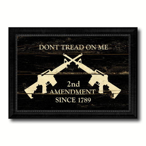 2nd Amendment Dont Tread On Me M4 Rifle Military Flag Vintage Canvas Print with Black Picture Frame Home Decor Wall Art Decoration Gift Ideas