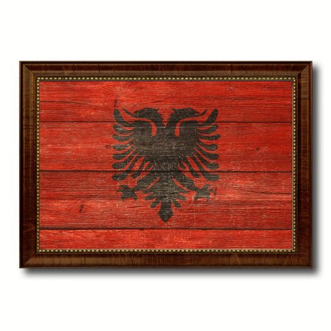Albania Country Flag Texture Canvas Print with Brown Custom Picture Frame Home Decor Gift Ideas Wall Art Decoration