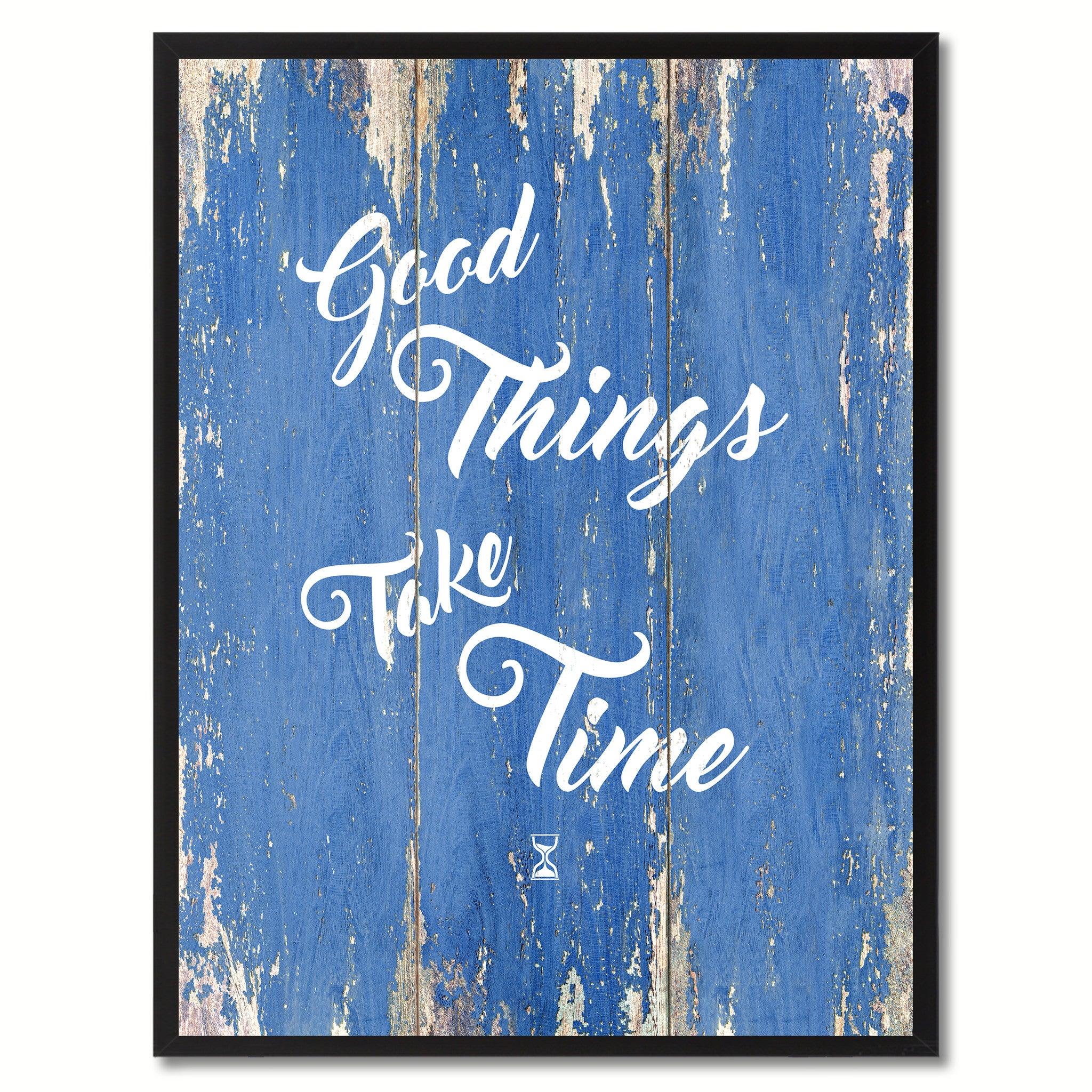 Good Things Take Time Saying Canvas Print, Black Picture Frame Home Decor Wall Art Gifts