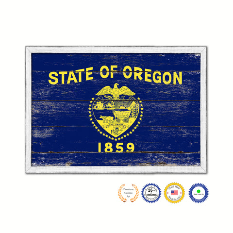 Oregon State Flag Shabby Chic Gifts Home Decor Wall Art Canvas Print, White Wash Wood Frame