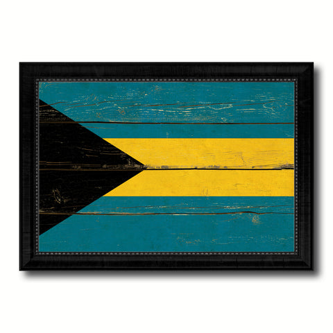 Bahama Country Flag Vintage Canvas Print with Black Picture Frame Home Decor Gifts Wall Art Decoration Artwork