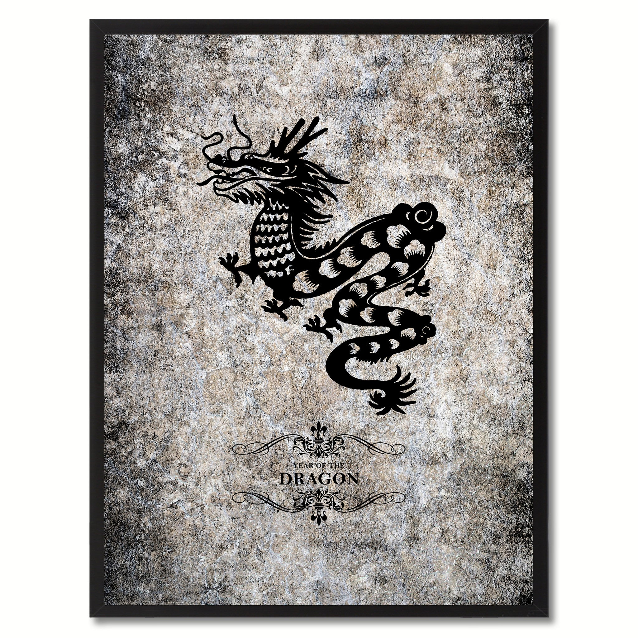 Zodiac Dragon Horoscope Canvas Print, Black Picture Frame Home Decor Wall Art Gift