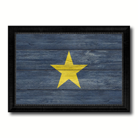 Burnet's 1st Texas Republic 1836-1839 Military Flag Texture Canvas Print with Black Picture Frame Gift Ideas Home Decor Wall Art