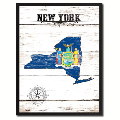 New York State Flag Gifts Home Decor Wall Art Canvas Print Picture Frames