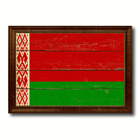 Belarus Country Flag Vintage Canvas Print with Brown Picture Frame Home Decor Gifts Wall Art Decoration Artwork