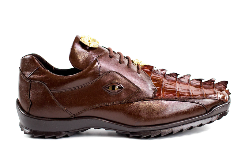 Vasco in Brown, Hornback Crocodile and Calf Leather Sneakers, Style: 336122