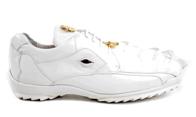 Vasco in White, Hornback Crocodile and Calf Leather Sneakers, Style: 336122