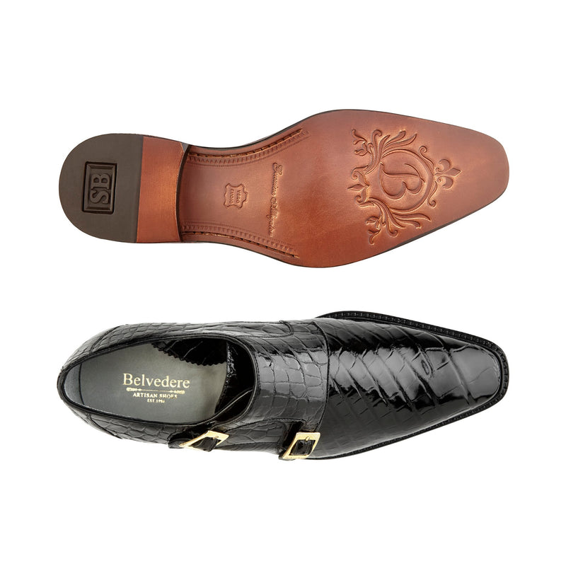 Oscar, Double Monk Strap Alligator Shoes Style: B02