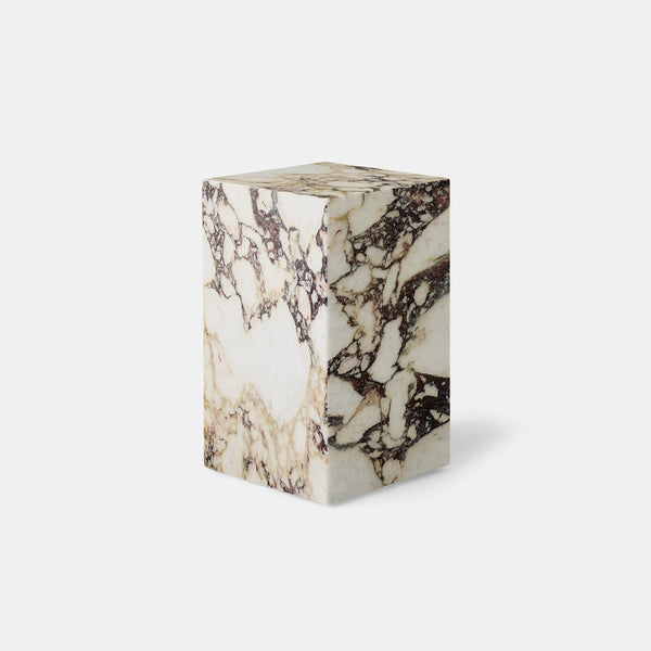 Plinth Tall Side Table - Calacatta Viola marble