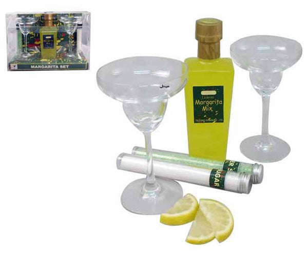 5pc margarita set includes, 2 glasses, sugar, salt and margarita mix in pvc packaging, Bar Accessories - Presence