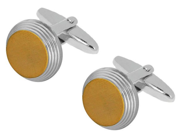 Brushed rhodium plated 'round' shiny gold and silver cufflinks in gift box