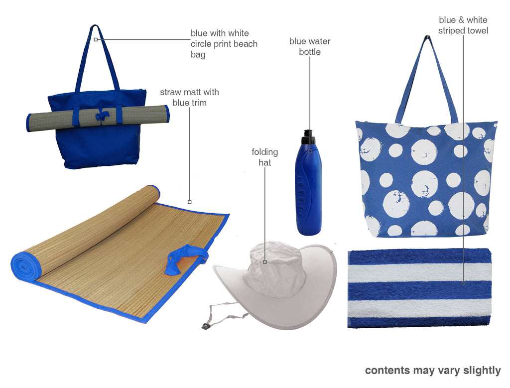 Blue with circle beach bag gift set
