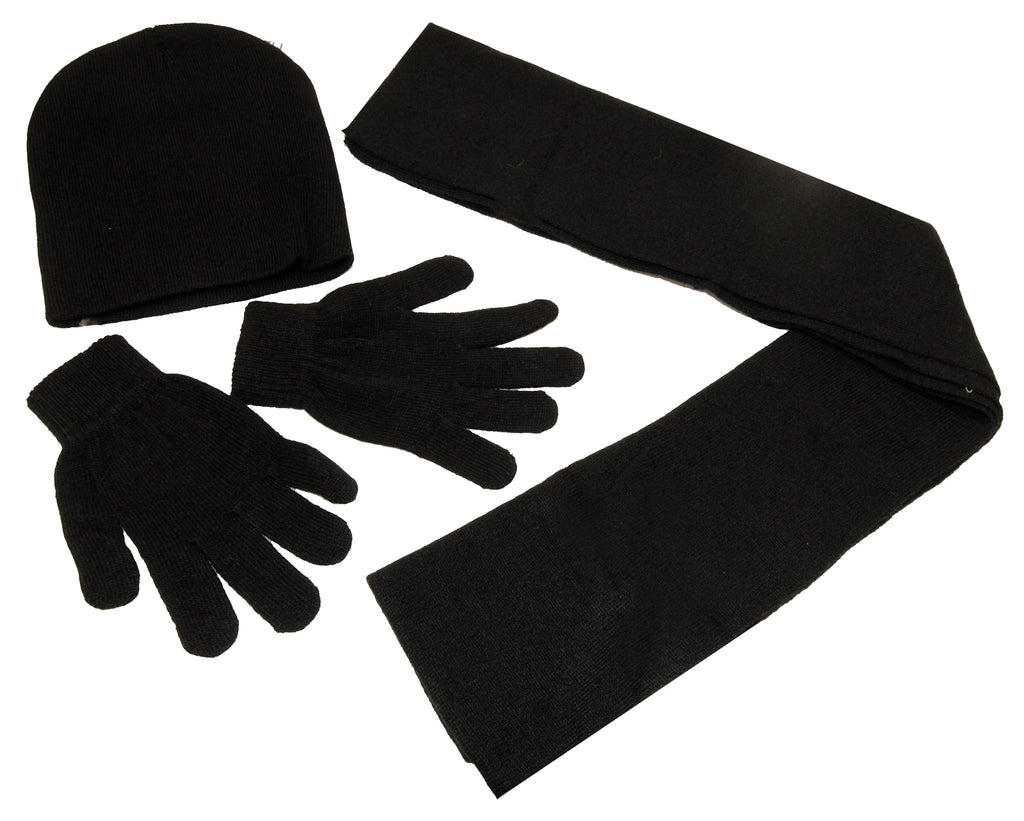 Black knit hat, gloves and scarf set for adults, Personal Accessories - Presence