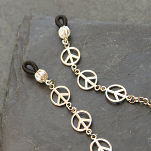 Silver Peace Sign Glasses Chain - Blunted Objects