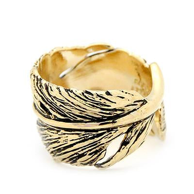 Feather Ring Gold-Black | FEATHER