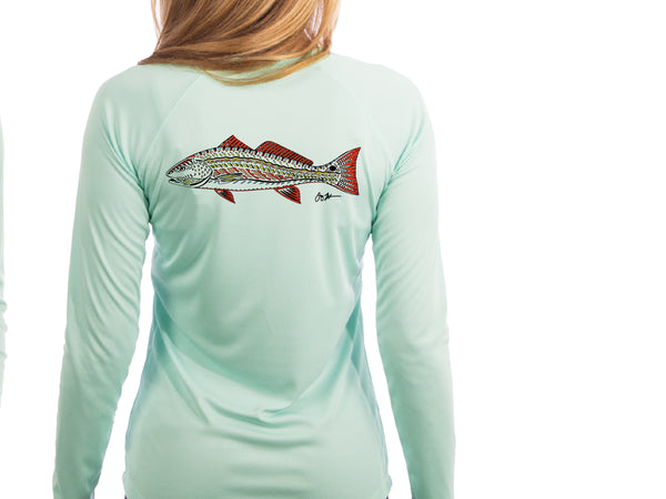 Women's Long Sleeve Performance Sun Shirt- Funky Red Fish