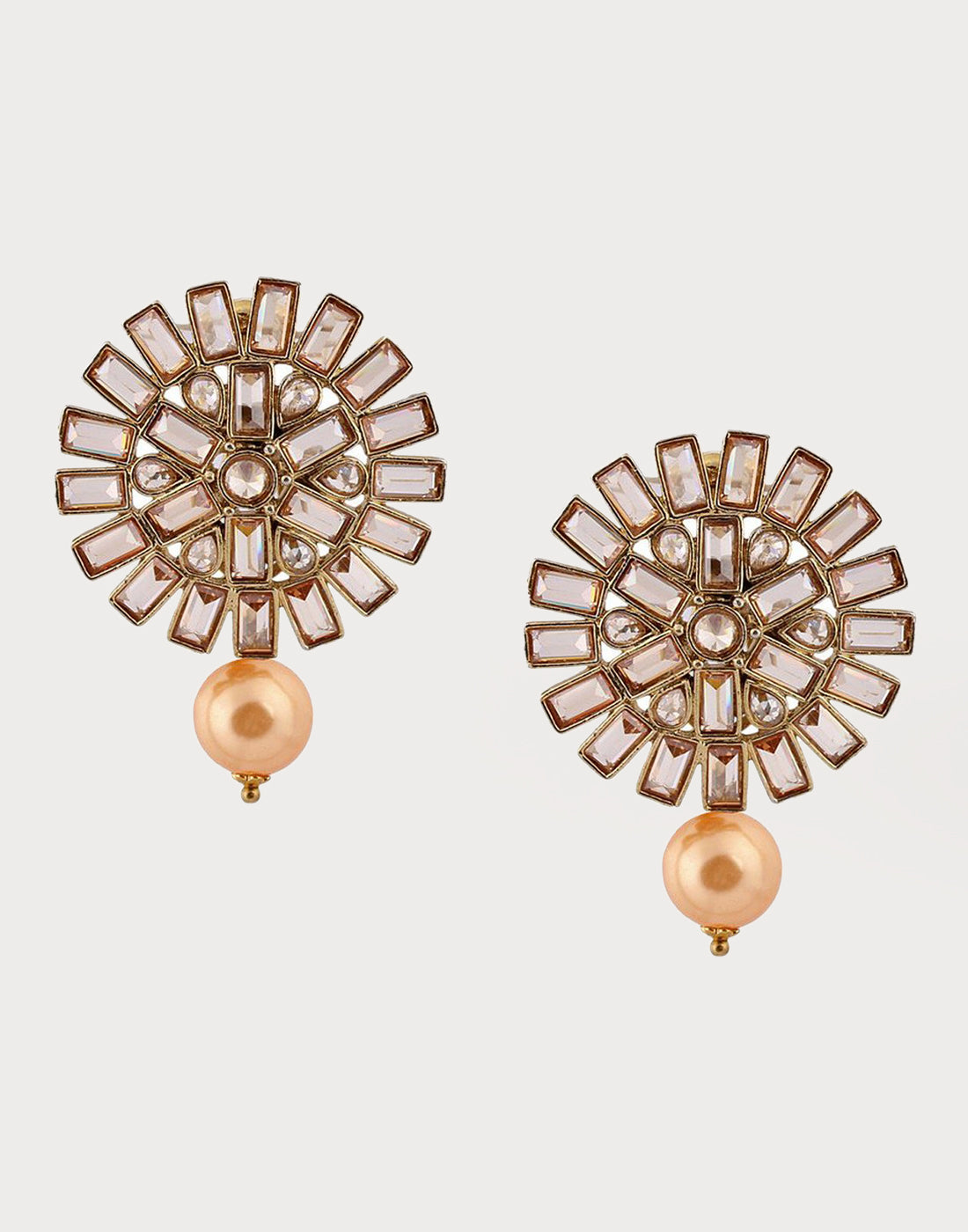 Meena Bazaar : Studs with pearl and gemstone detailing