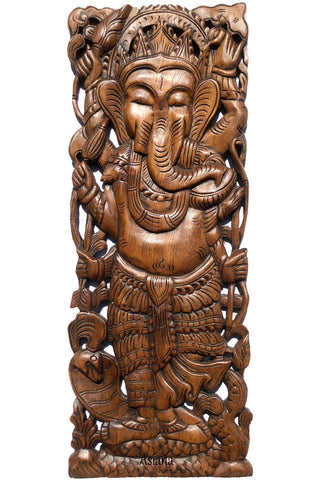 "Ganesha Standing Buddha Holding Lotus Flower Wall Art. Brown Finish 35.5""x13.5"" Extra Thick"