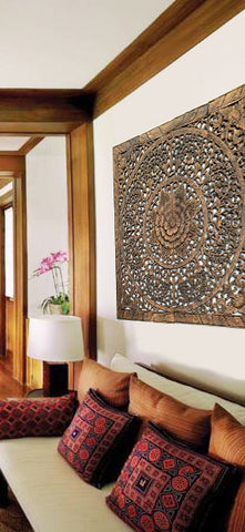 "Elegant Wood Carved Wall Plaque. Wood Carved Floral Wall Art. Asian Home Decor Wall Art Panels. Bali Home Decor. 48"" Color Options Available"