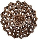 Wood Wall Plaque. Round Floral Wood Carved Panel. Oriental Home Decor. Brown 12""