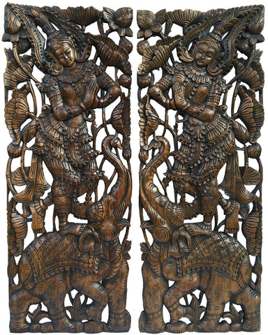 "Traditional Sawaddee Thai Figure and Elephant. Large Carved Wood Panels. Asian Home Decor Wall Art. Decorative Thai Wood Carving Wall Sculpture. Brown Finish 35.5""x13.5""x1"" Each, Set of 2 pcs"