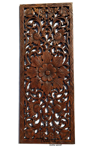 "Floral Leaf Wood Carved Wall Panel. Tropical Home Decor. Size 35.5""x13.5""Color Options Available"