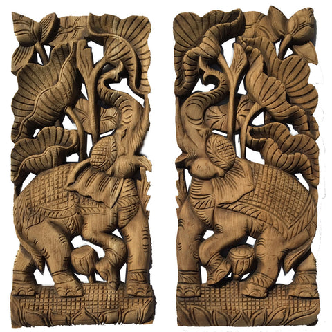 animal carved wood wall panels