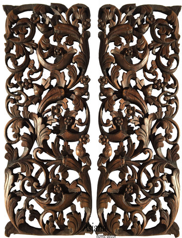 "Tropical Home Decor. Bali Home Decor. Floral Wall Art Panel. Wood Carving Headboard 35.5""x13.5"" Extra Thick. Set of 2. Color Options Available"
