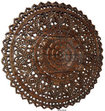 "Elegant Medallion Lotus Wood Carved Wall Plaque. Asian Wall Art Home Decor. 36"" Dark Brown"