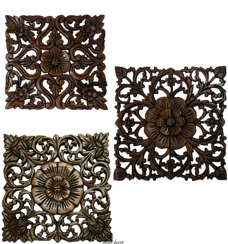 "Wood Plaque Oriental Carved Lotus. Rustic Wall Decor. Hand Carved Wall Art Decor Panel. Thai Decorative Wood Panels. Set of 3. 12"" Square"