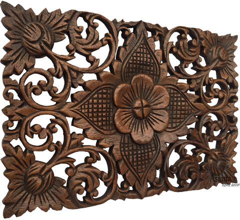 "Wood Wall Decor Lotus flower.Oriental Home Decor. Decorative Wall Panel Sculpture. Hand Carved Wall Art Decor Panel. Rustic Wall Decor. Tropical Home Idea Decor. Living Room Wall Decor. Brown Finish 12""x17.5""x0.5"""