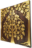 Asian Wood Sacred Fig Tree Relief Wall Art Panels. Elegant Gold leaf Wood Carved Wall Plaque. Dark Brown and Gold. Size Options Available.