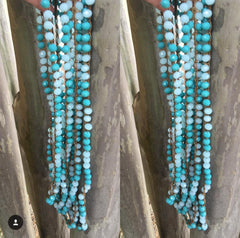 Aqua & Teal Crochet Necklace