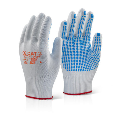 Click 2000 White Tronix Blue Dot Gloves