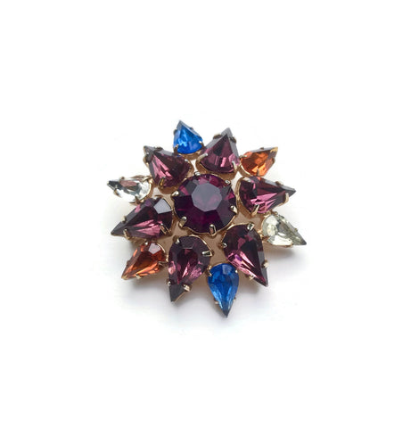 1950's Coloured Glass Cluster Brooch - hurdyburdy vintage
